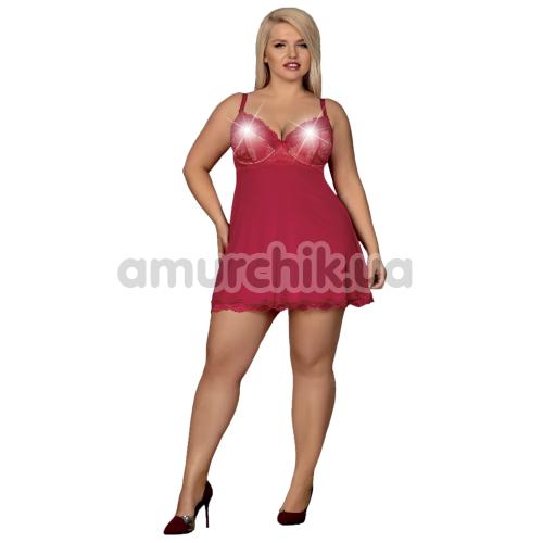 Комплект Obsessive Rosalyne, бордовый: пеньюар + трусики-стринги