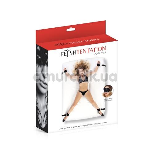 Бондажный набор Fetish Tentation Enjoy Pain Ankle And Wrist Straps For Bed, черный