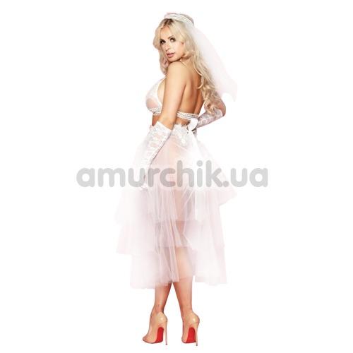Костюм невесты JSY Sexy Lingerie белый: топ + юбка + фата + перчатки