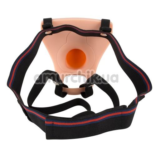 Полый страпон Vibrating Strap-on Silicone Sleeve, телесный
