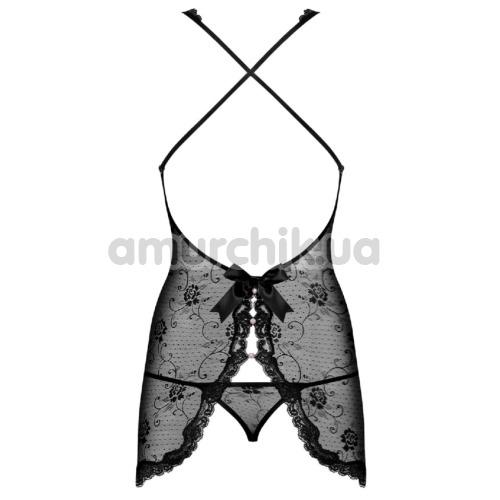 Комплект Obsessive Fiorenta черный: пеньюар + трусики-стринги
