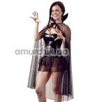 Костюм вампирши Cottelli Collection чёрный: мини-платье + накидка + воротник - Фото №1