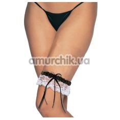 Подвязка Satin Lace Garter W/ Bow, черно-белая - Фото №1