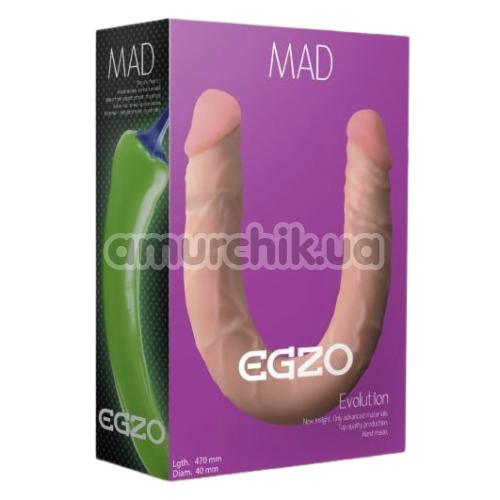 Двухконечный фаллоимитатор EGZO Mad Evolution 47 см, телесный