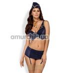 Костюм стюардессы Obsessive 816-CST-6 синий: топ + трусики-стринги + пояс для чулок + шейный платок + пилотка - Фото №1