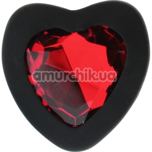 Анальная пробка с красным кристаллом Silicone Jewelled Butt Plug Heart Large, черная