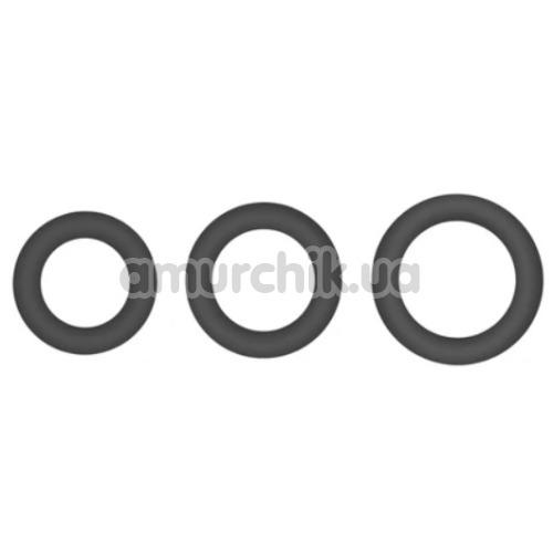 Набор эрекционных колец Hombre Snug Fit Silicone Thick C-Rings, черный - Фото №1