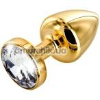 Анальная пробка с прозрачным кристаллом SWAROVSKI Anni Round T1, золотая - Фото №1