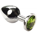 Анальная пробка с зеленым кристаллом SWAROVSKI Silver Chrysolite Middle, серебряная - Фото №1