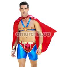 Костюм супермена JSY Superman красно-синий: шорты + топ + плащ + напульсники - Фото №1