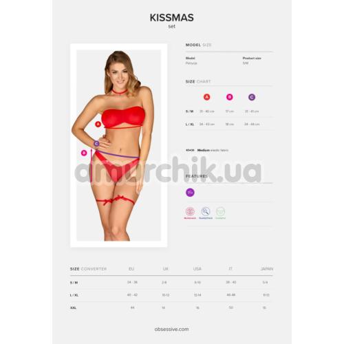 Комплект Obsessive Kissmas красный: бюстгальтер + трусики + чокер + подвязки