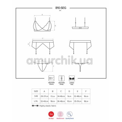 Комплект Obsessive 810-SEG красный: бюстгальтер + трусики-стринги + пояс для чулок