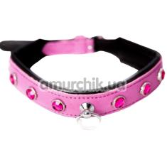 Ошейник DS Fetish Leather Collar Jewel, розовый - Фото №1