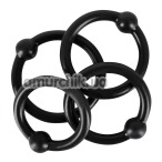 Набор из 4 эрекционных колец Rebel Silicone Cock Ring Set, черный - Фото №1