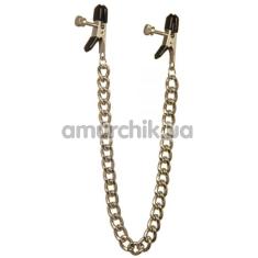 Зажимы для сосков с тяжелой цепочкой Lucky Bay Nipple Play, золотые - Фото №1