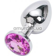 Анальная пробка с малиновым кристаллом, 7.5 см гладкая серебряная - Фото №1