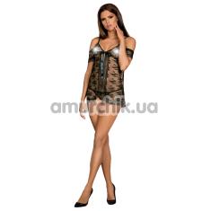 Комплект Obsessive Jennifairy, черный: пеньюар + трусики-стринги - Фото №1
