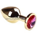 Анальная пробка с розовым кристаллом SWAROVSKI Gold Pink-Rhodolite Middle, золотая - Фото №1