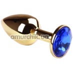 Анальная пробка с синим кристаллом SWAROVSKI Gold Sapphire Small, золотая - Фото №1