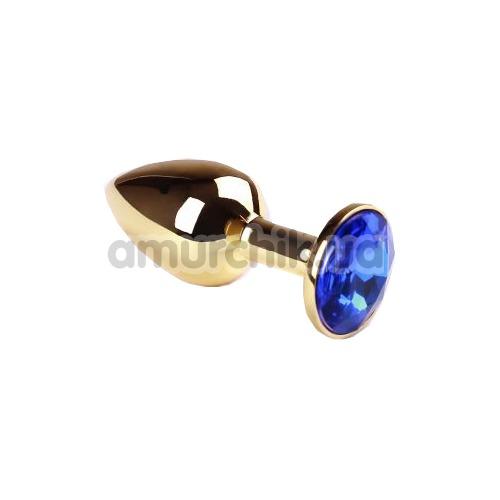 Анальная пробка с синим кристаллом SWAROVSKI Gold Sapphire Small, золотая