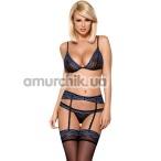 Комплект Obsessive 844-SEG-1 синий: бюстгальтер + трусики-стринги + пояс для чулок - Фото №1