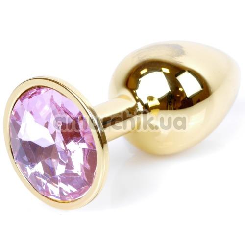 Анальная пробка со светло-розовым кристаллом Exclusivity Jewellery Gold Plug, золотая - Фото №1