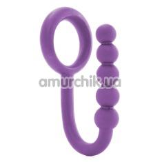Эрекционное кольцо со стимулятором простаты Ball Cinch With Anal Bead, фиолетовое - Фото №1