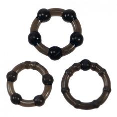 Набор из 3 эрекционных колец Linx Easy Squeeze Cock Ring Set, черный - Фото №1