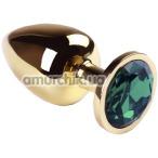 Анальная пробка с зеленым кристаллом SWAROVSKI Gold Emerald Big, золотая