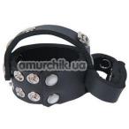 Эрекционное кольцо Kinky Cock Ring & Ball Harness, черное - Фото №1