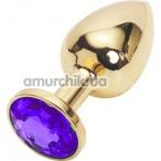 Анальная пробка с фиолетовым кристаллом SWAROVSKI, 7.5 см гладкая золотая - Фото №1