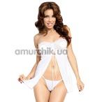 Комплект Tanya белый: пеньюар + трусики-стринги - Фото №1