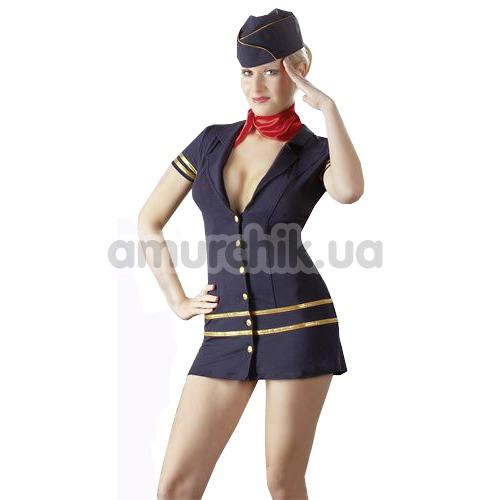 Костюм стюардессы Cotelli Collection: платье + шарфик + шапочка - Фото №1
