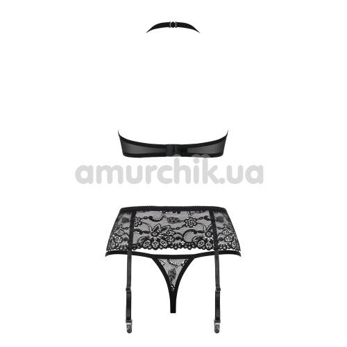 Комплект Obsessive 838-SEG-1 черный: бюстгальтер + трусики-стринги + пояс для чулок