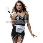 Костюм горничной LeFrivole Easy To Love (02790) черный: платье + фартук + трусики + чокер + головной убор - Фото №1