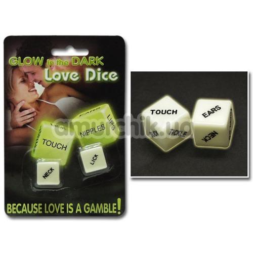 Секс-игра кубики Glow in the Dark Love Dice английская версия, светящиеся в темноте