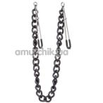 Зажимы для сосков с широкой цепочкой Lucky Bay Nipple Play Chain Heavy Metall, черные - Фото №1