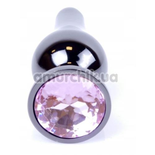 Анальная пробка с розовым кристаллом Exclusivity Jewellery Dark Silver Plug, серебряная