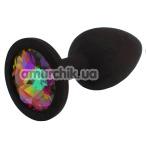 Анальная пробка с радужным кристаллом SWAROVSKI Zcz М, черная - Фото №1