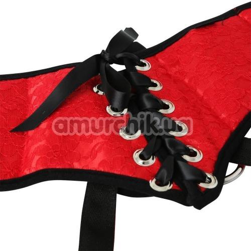 Трусики для страпона Sportsheets Plus Size Red Lace with Satin Corsette Strap-On, красные