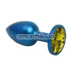 Анальная пробка с желтым кристаллом SWAROVSKI Zcz, синяя матовая - Фото №1