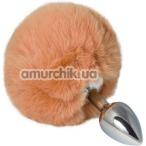 Анальная пробка с оранжевым хвостиком sLash Honey Bunny Tail S, серебряная - Фото №1