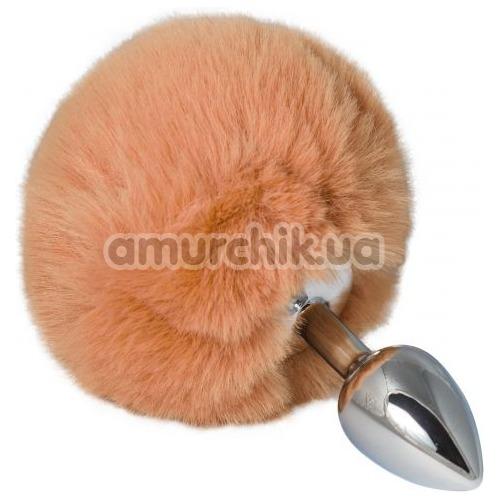 Анальная пробка с оранжевым хвостиком sLash Honey Bunny Tail S, серебряная