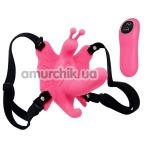 Вибратор-бабочка с пультом управления Ultra Passionate Harness, розовый - Фото №1