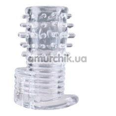 Вибронасадка на пенис Clear Sensations Vibrating Textured Erection Sleeve, прозрачная - Фото №1