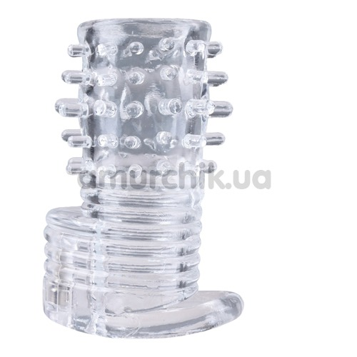 Вибронасадка на пенис Clear Sensations Vibrating Textured Erection Sleeve, прозрачная