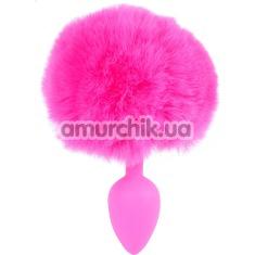 Анальная пробка с розовым хвостиком Boss Series Exclusivity Silikon Bunny Tail, розовая - Фото №1