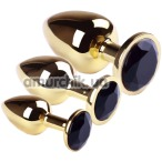 Набор из 3 анальных пробок с черным кристаллом SWAROVSKI Gold Black Diamond, золотой - Фото №1