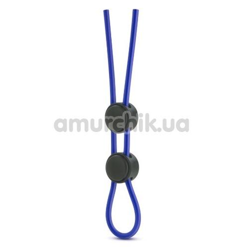 Эрекционное кольцо Stay Hard Silicone Double Loop Cock Ring, синее - Фото №1