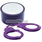 Бондажный набор BondX Metal Cuffs & Bondage Ribbon, фиолетовый